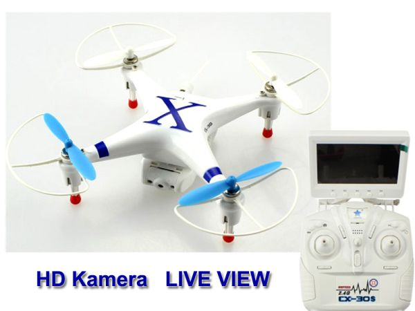 RC Quadrocopter<br> 2,4GHz CX-30S mit<br>live view