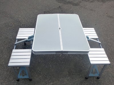 Folding camping<br> table with 2<br>benches aluminum