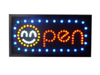 Advertising sign<br> with LED (OPEN +<br>Smiley)
