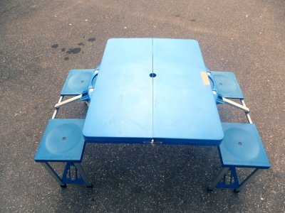 Folding camping<br> table with 2<br>benches Abs