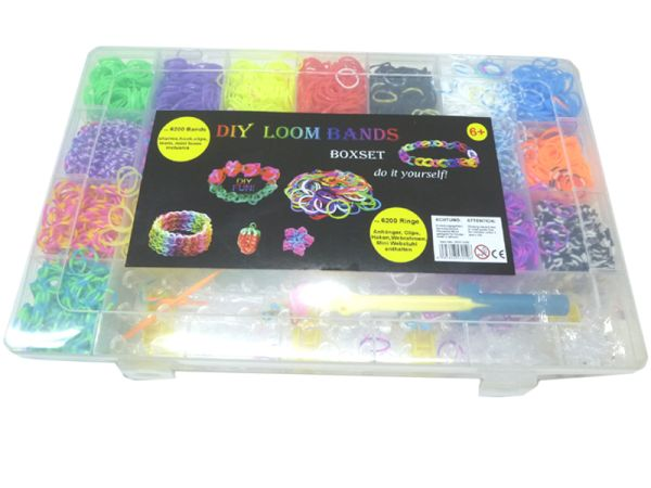 Loom bands<br> Bänderset Boxset<br>XXL 6200 pcs. tapes