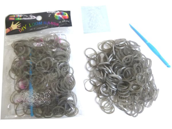 Loom bande 200 pz<br>metallico argento