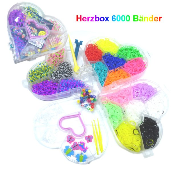 Loom Bänderset<br> heart 3reihig Box,<br>6000 tapes