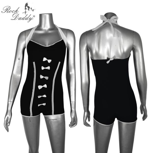 Pin Up Retro<br> Bikini noir avec<br>des rubans blancs