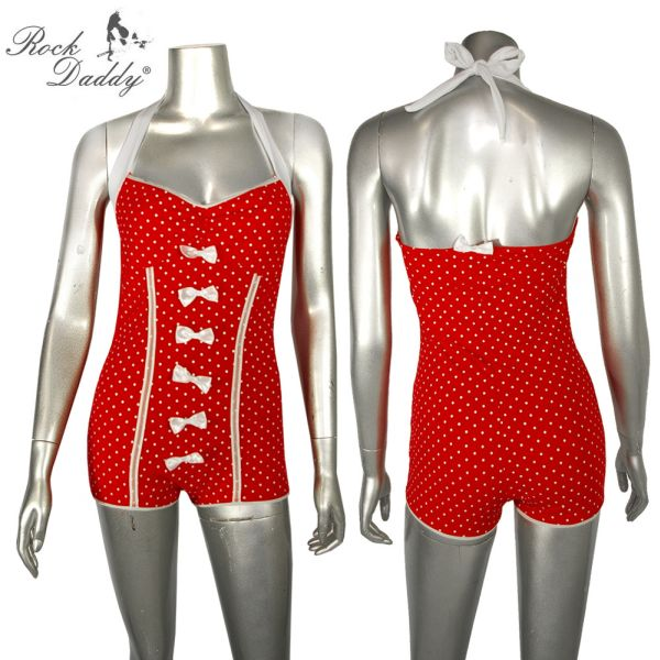 Pin Up Bikini<br> Retro red with<br>white bows and w