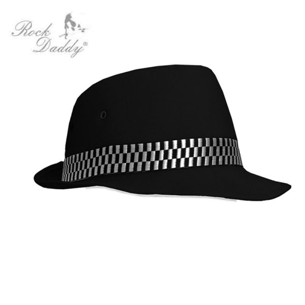 Felt hat in black<br> with diamond black<br>/ white ribbo