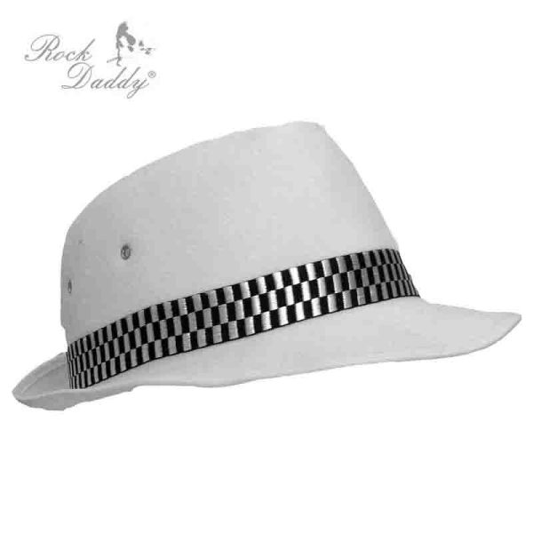 Felt hat in white<br> with diamonds<br>black / white ribb