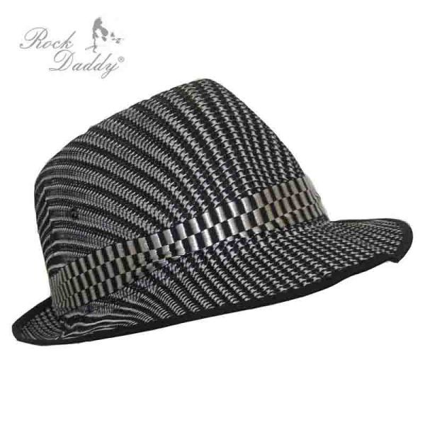 Fedora in gray<br> with checked black<br>/ white ribbon
