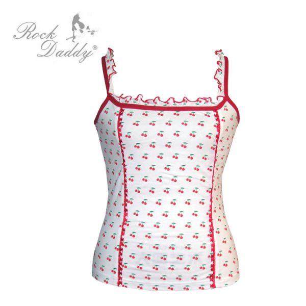 Girlie Corsage Top<br> in weiß mit<br>Kirschen Muster