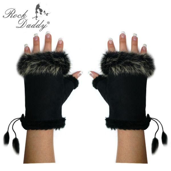 Handschuhe<br> Fingerlos mit Fell<br>in schwarz