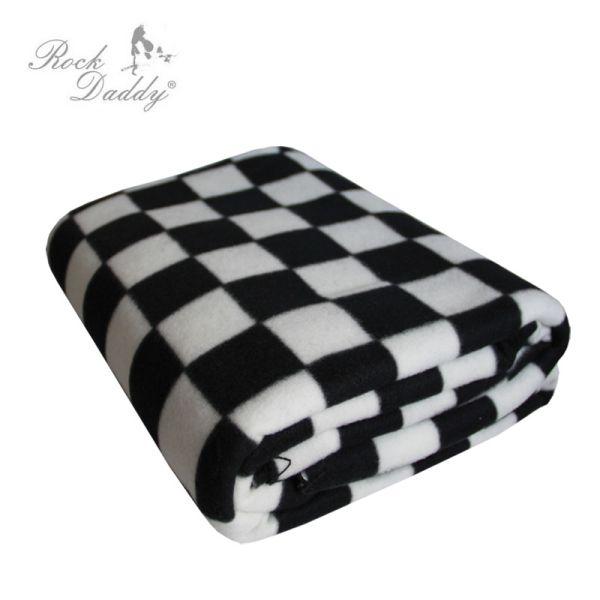 Fleecedecke in<br> Karo Muster<br>schwarz/weiß