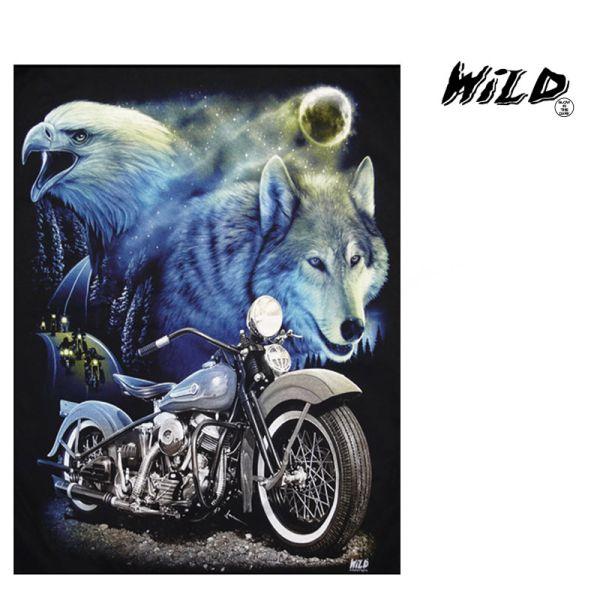 Fleecedecke mit<br> Motorrad, Wolf und<br>Adler Motiv