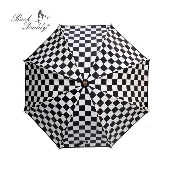 Stick umbrella<br>with check pattern