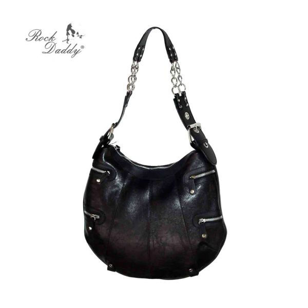 Handbag in black<br>with zippers