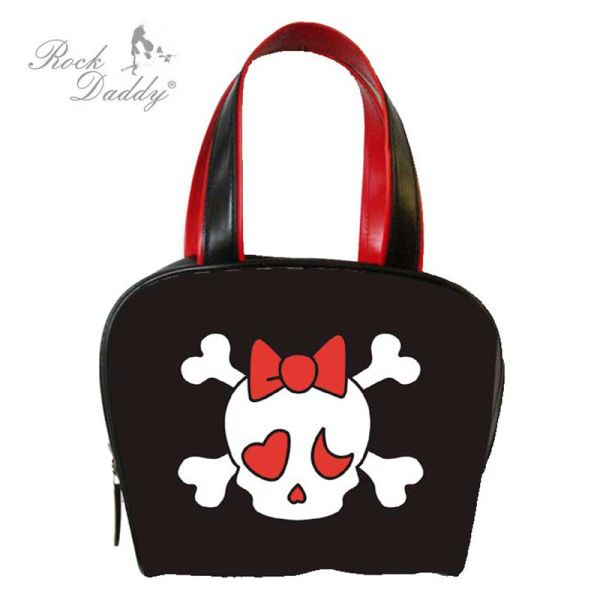Handbag in black<br>with skull pattern