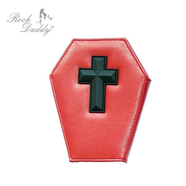 Sarg-Geldbörse in<br> rot mit einem<br>schwarzen Kreuz