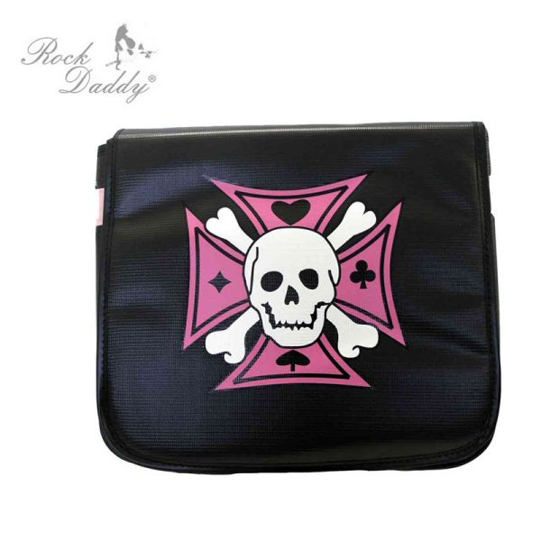 Shoulder bag in<br> black u with a<br>pink cross