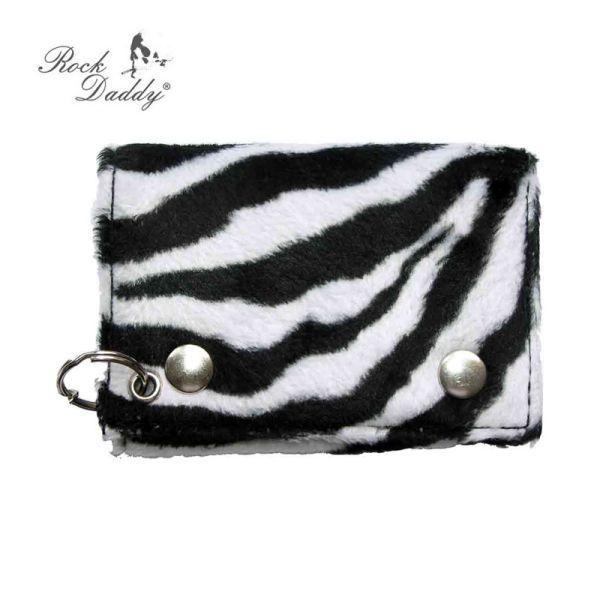 Geldbeutel mit<br> Zebrafell<br>schwarz/weiß