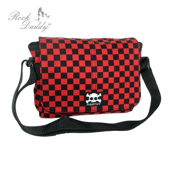 Shoulder Bag in<br> Checked black /<br>red with a skull