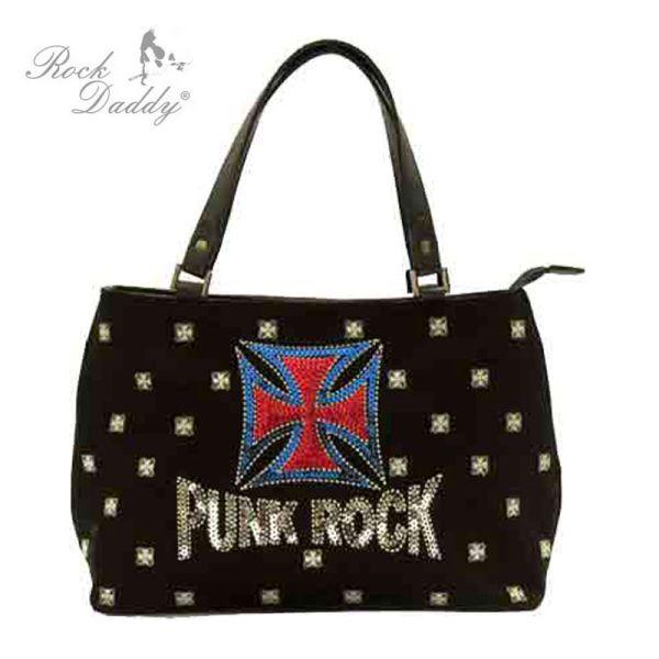 Handtasche mit<br> Stickereien mit<br>der Aufrischt Punk