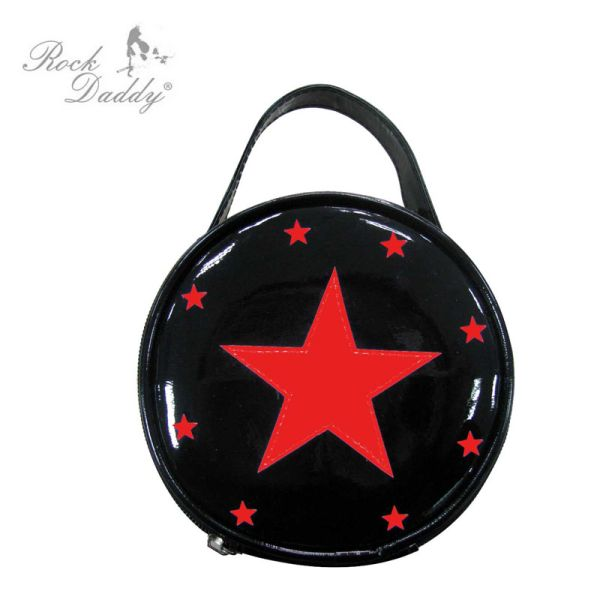 Patent leather bag<br> with removable<br>interior mirror