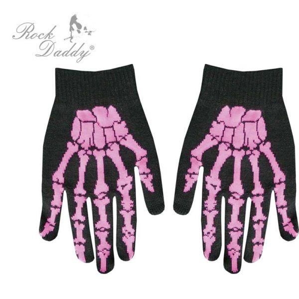 Handschuhe in<br> schwarz mit pinker<br>Skeletthand
