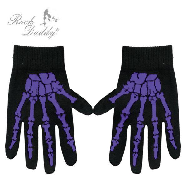 Handschuhe in<br> schwarz mit<br>lilaner Skeletthand