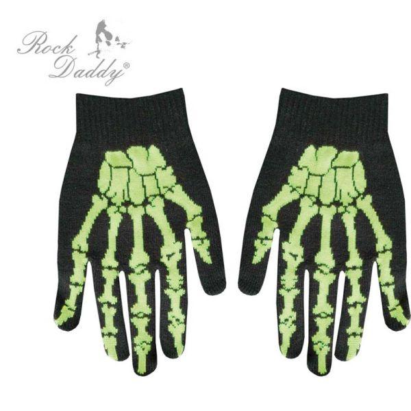 Handschuhe in<br> schwarz mit grüner<br>Skeletthand
