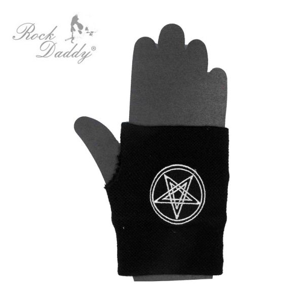 Fingerlose<br> Handschuhe in<br> schwarz mit ...