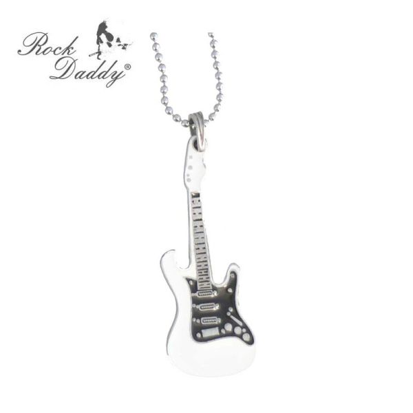 Metal chain with<br>guitar over white