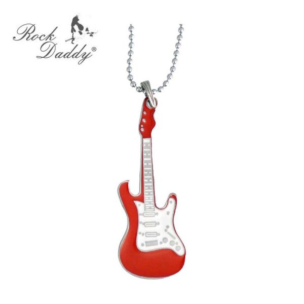 Metal chain with<br>guitar in red