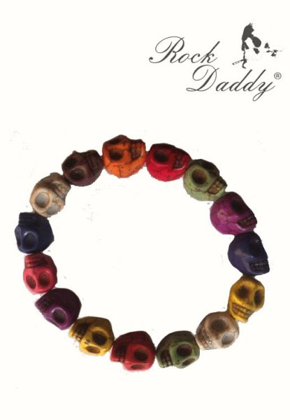 Bracelet with<br> skulls colorful<br>with skull pendant