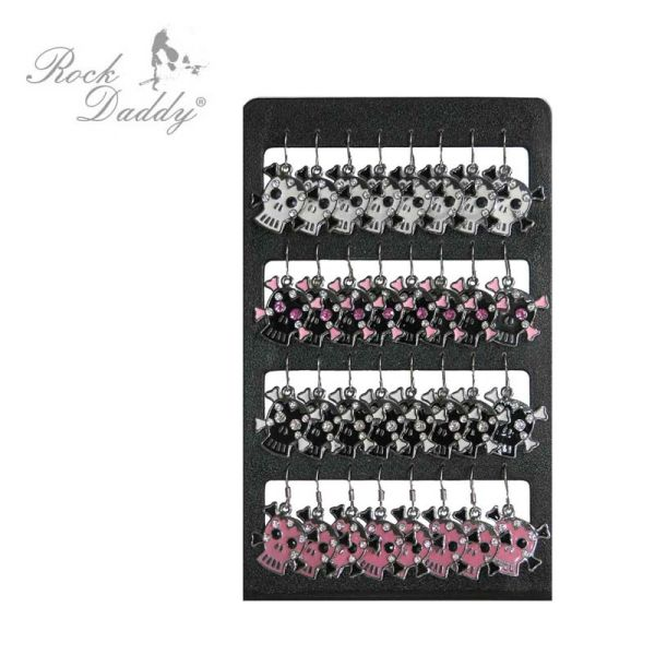 Earrings in white / black / pink skulls