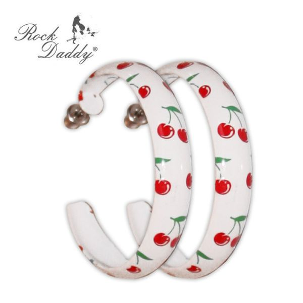 Hoop earrings in<br> white with cherry<br>pattern