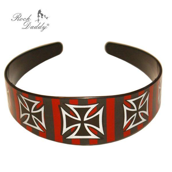 Haarreif in<br> schwarz/rot<br>gesreift mit Kreuzen