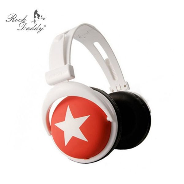 Headphones with white star