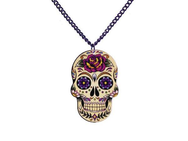 Halskette mit<br> bunten Totenkopf<br>Anhänger