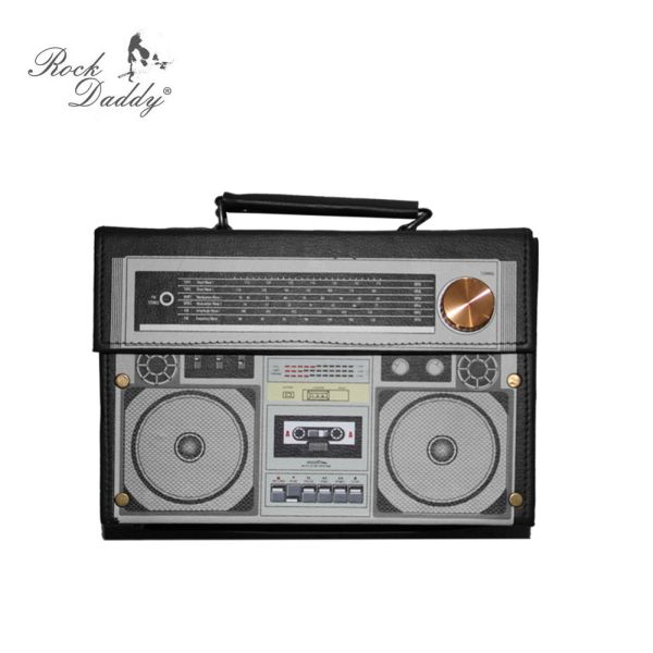 Hard-shell<br> suitcase radio in<br>black