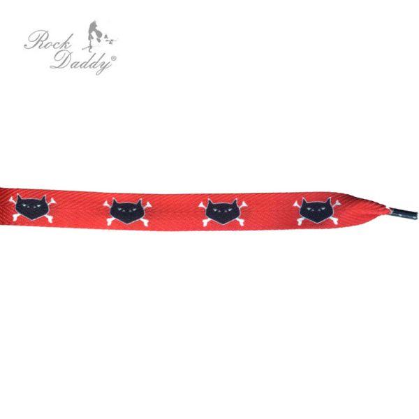 Koronki w kolorze<br> czerwonym z<br>czarnymi kotami z ko