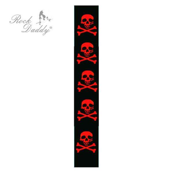 Nadrágtartó,<br> fekete, vörös<br>koponya és a csontok