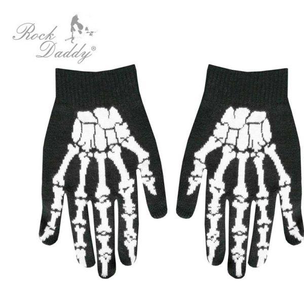 Handschuhe in<br> schwarz mit weiß<br>Skeletthand