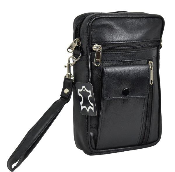 Herrentasche mit<br> Handyfach aus Lamm<br>Nappa Leder
