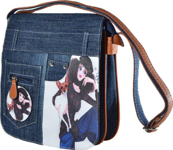 Handtasche Jeans<br> Optik mit Motiv -<br>Trend Tasche