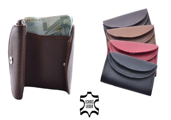 Mini Geldbörse mit<br> doppeltem<br>Rundüberschlag Leder