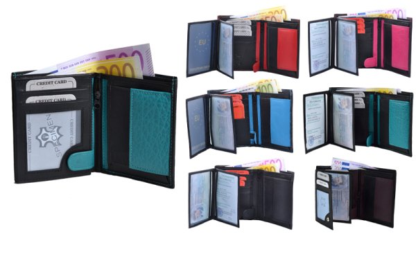 /Geldbörse<br> Portemonnaie Hoch<br>2-farbig Nappa-Leder