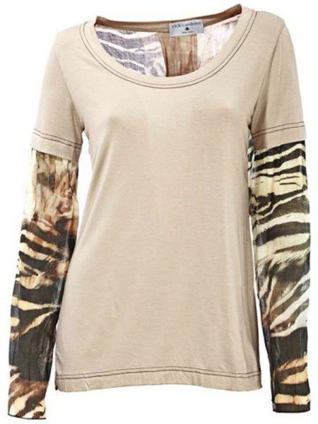 Designer Blouse<br> Long Shirt beige<br>animal