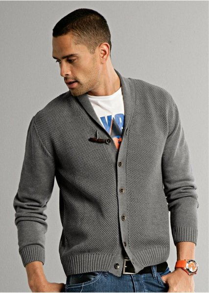 Men sweater gray melange
