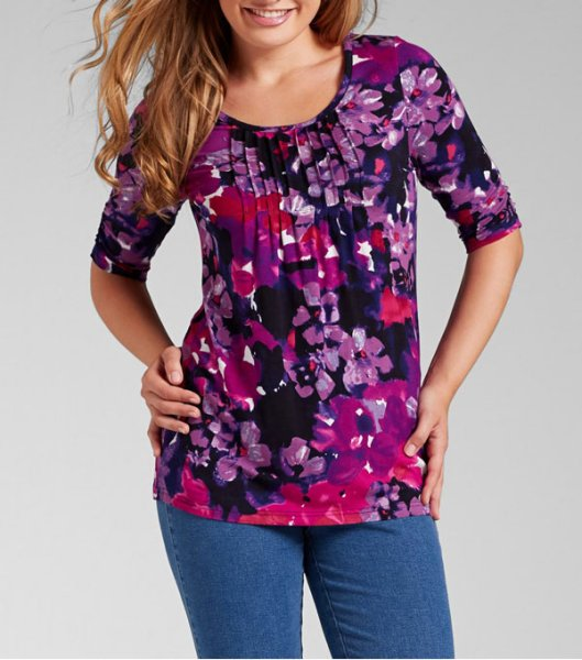 Tunic Longshirt<br>flowers purple berry
