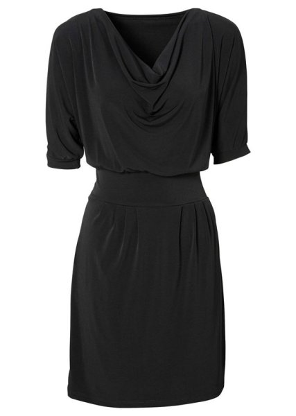 Mini dress cowl<br>neck black