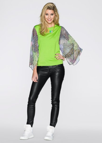 Stretch Shirt<br> green colorful<br>with Chiffon Sleeves